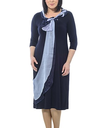 Navy Braided Sash Shift Dress - Plus