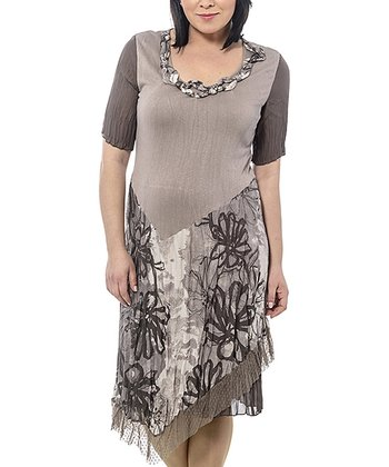 Beige Floral Sidetail Dress - Plus