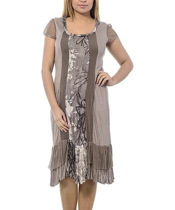 Beige Braided Scoop Neck Shift Dress - Plus