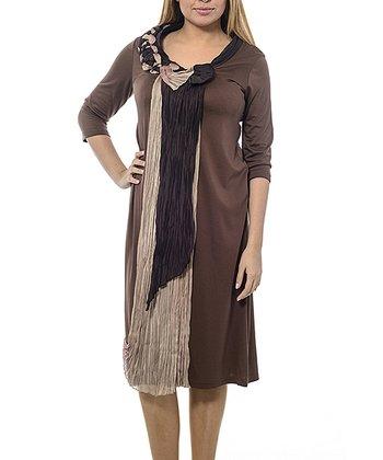 Brown Crepe Sash Shift Dress - Plus