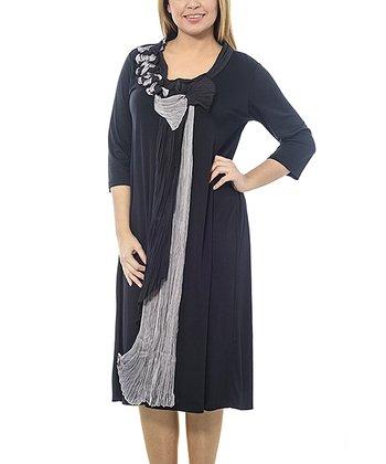 Black Crepe Sash Shift Dress - Plus