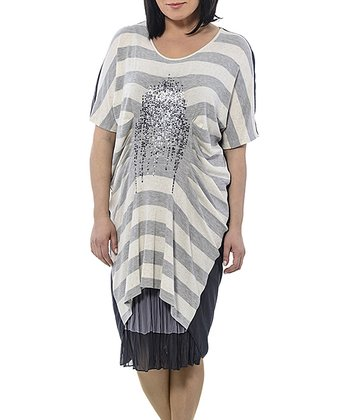 Gray & Navy Stripe Gathered Linen-Blend Dress - Plus