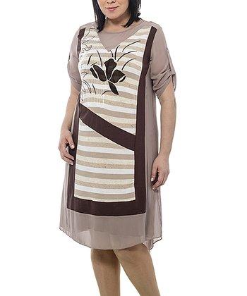 Beige Sheer Zipper Linen-Blend Shift Dress - Plus