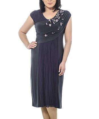 Anthracite Petal Cross-Front Dress - Plus