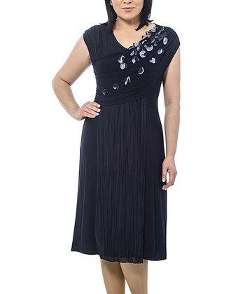 Navy Petal Cross-Front Dress - Plus