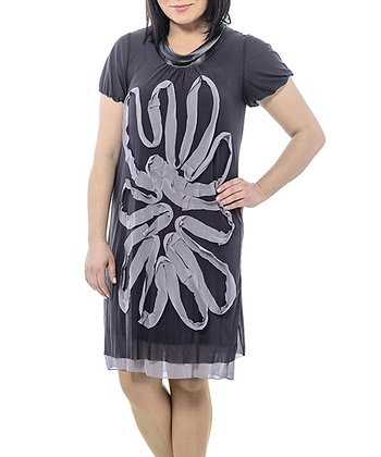 Anthracite Sheer Swirl Shift Dress - Plus