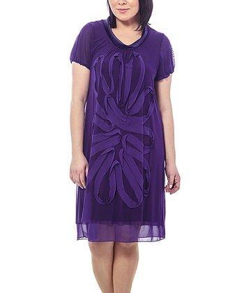 Purple Sheer Swirl Shift Dress - Plus
