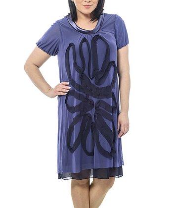 Lilac Sheer Swirl Shift Dress - Plus