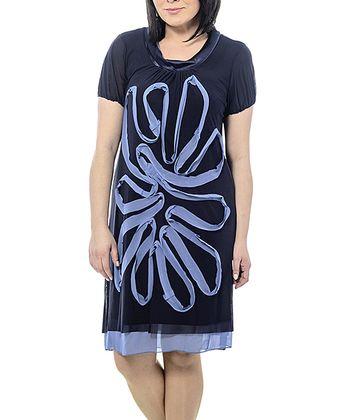 Navy Sheer Swirl Shift Dress - Plus