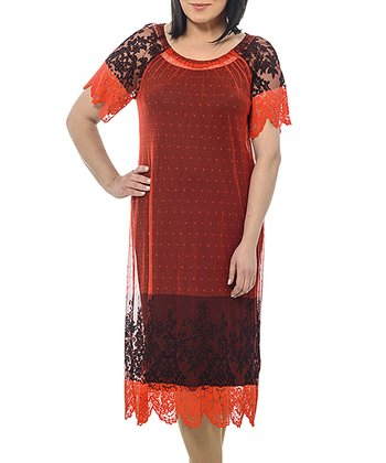Red Floral Sheer Lace Shift Dress - Plus