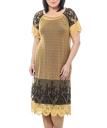Yellow Floral Sheer Lace Shift Dress - Plus