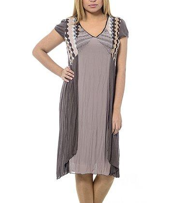 Beige Squiggle Cap-Sleeve Shift Dress - Plus