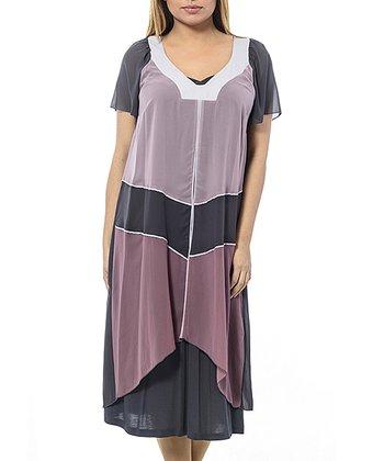 Anthracite & Purple Block Layered Shift Dress - Plus