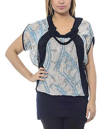Navy Abstract Braided Cowl Neck Top - Plus
