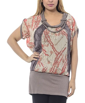 Beige Abstract Braided Cowl Neck Top - Plus