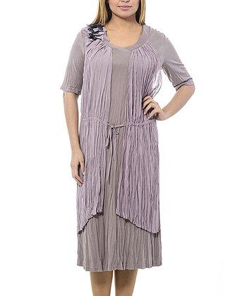 Beige & Lilac Drawstring Crepe Shift Dress - Plus