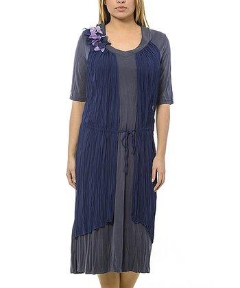 Gray & Navy Drawstring Crepe Shift Dress - Plus