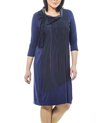 Navy Bow Pleated Shift Dress - Plus