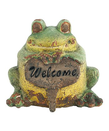 Green Crackle 'Welcome' Frog Figurine