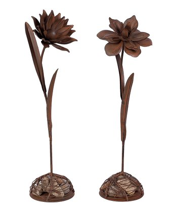 Brown Flower Figurine Set