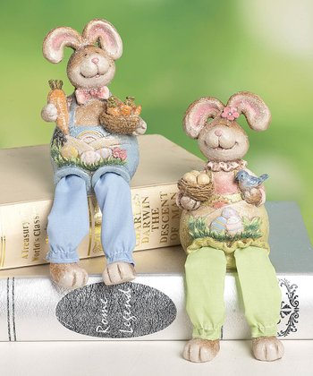 Retro Bunny Shelf Sitter Figurine Set