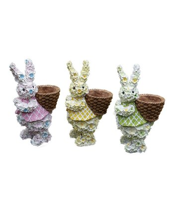 Flower Bunny & Basket Figurine Set