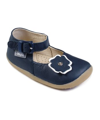 Navy Flower I-Walk Mary Janes