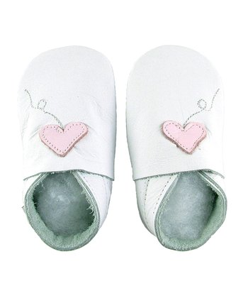 White Newborn Heart Shoes