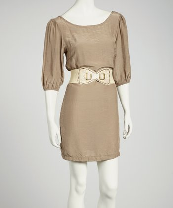 Taupe Three-Quarter Sleeve Dress