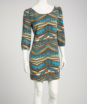 Royal Blue Tribal Three-Quarter Sleeve Shift Dress