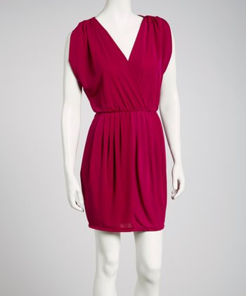 Magenta Cape-Sleeve Surplice Dress