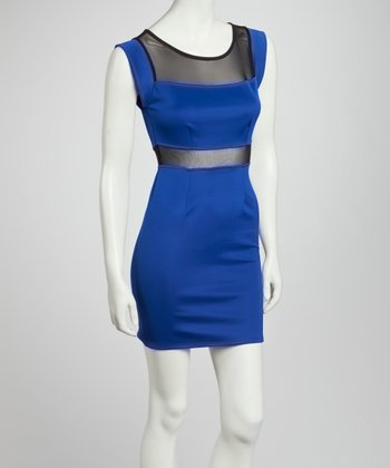 Royal Blue & Black Color Block Sheer Sleeveless Dress