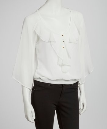 Ivory Sheer Ruffle Collar Cape-Sleeve Blouse
