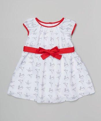 Halo Halo Girl Red & White Origami Crane Dress - Toddler & Girls
