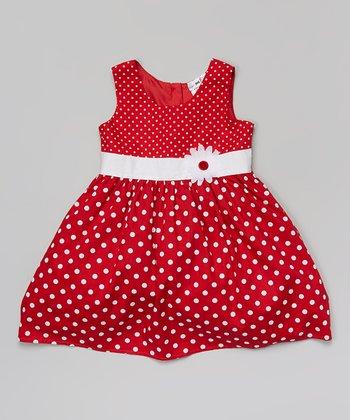 Halo Halo Girl Red Polka Dot Flower Dress - Infant, Toddler & Girls