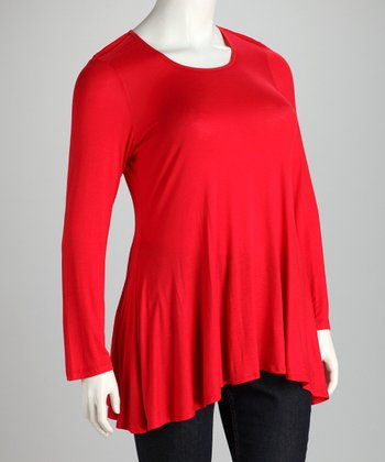 Red Plus-Size Hi-Low Top
