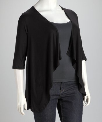 Black Plus-Size Open Cardigan