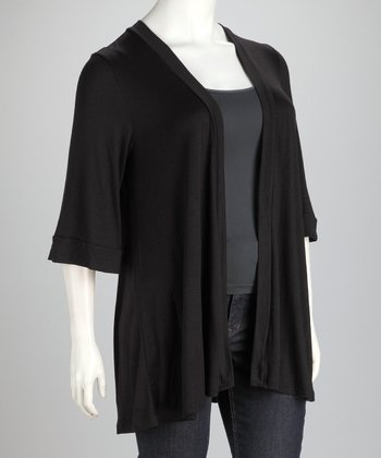 Black Wide-Sleeve Plus-Size Open Cardigan