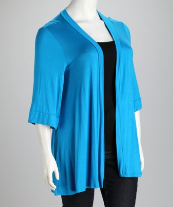 Turquoise Long Plus-Size Open Cardigan