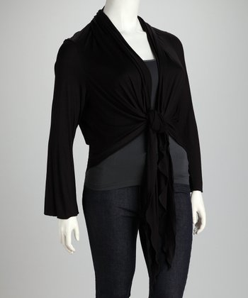 Black Front-Tie Plus-Size Cardigan