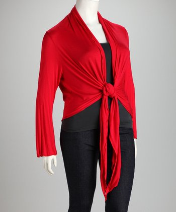 Red Front-Tie Plus-Size Cardigan