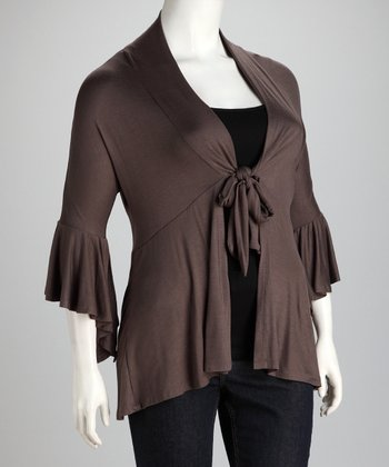 Clay Ruffle Plus-Size Cardigan