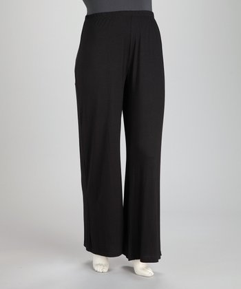 Black Plus-Size Wide-Leg Pants
