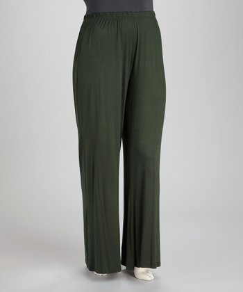 Olive Plus-Size Wide-Leg Pants
