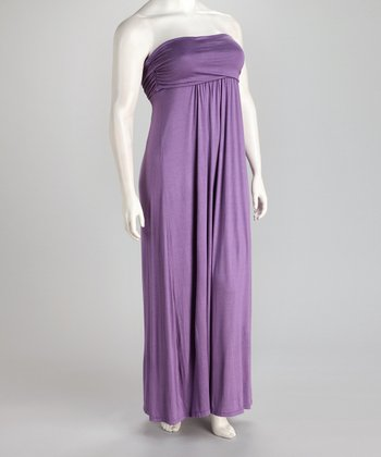 Lavender Strapless Plus-Size Maxi Dress
