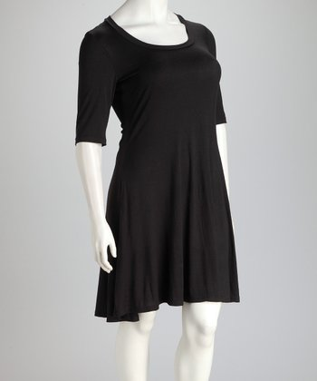 Black Plus-Size Three-Quarter Sleeve Dress