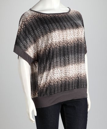 Gray Snakeskin Plus-Size Dolman Top