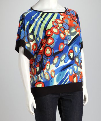 Blue Abstract Dolman Top - Plus