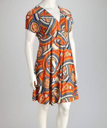 Orange & Gray Geometric V-Neck Dress - Plus