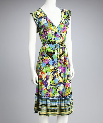 Green & Purple Floral Surplice Dress - Women